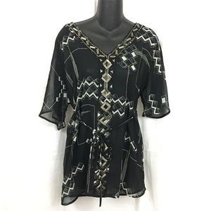 A pea in the Pod embellished tunic sheer blouse s